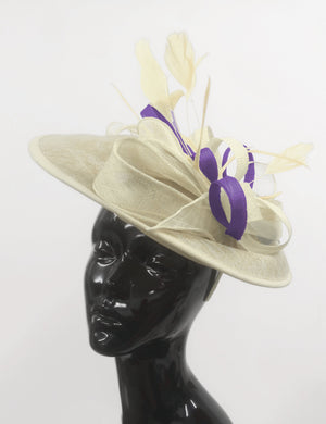 Caprilite Big Saucer Sinamay Cream ivory & Lavender Purple Mixed Colour Fascinator On Headband