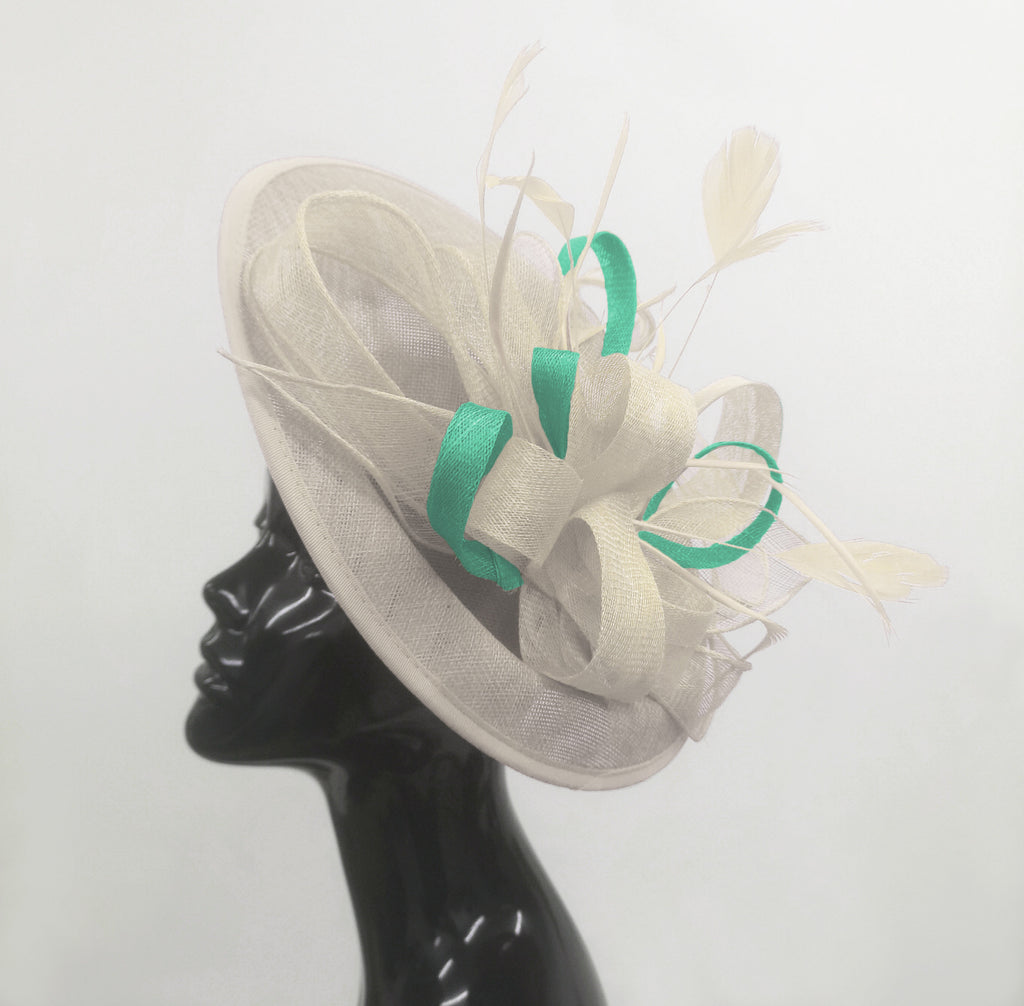 Caprilite Big Saucer Sinamay Cream Ivory & Light Turquoise Mixed Colour Fascinator On Headband
