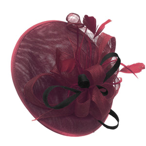 Caprilite Big Saucer Sinamay Burgundy & Black Mixed Colour Fascinator On Headband