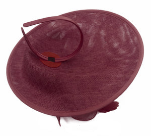 Caprilite Big Saucer Sinamay Burgundy & Light Turquoise Mixed Colour Fascinator On Headband