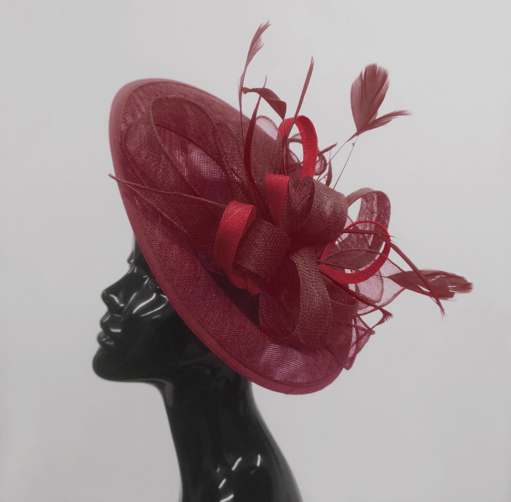 Caprilite Big Saucer Sinamay Burgundy Mixed Colour Fascinator On Headband