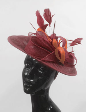 Caprilite Big Saucer Sinamay Burgundy & Orange Mixed Colour Fascinator On Headband