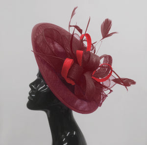 Caprilite Big Saucer Sinamay Burgundy & Red Mixed Colour Fascinator On Headband