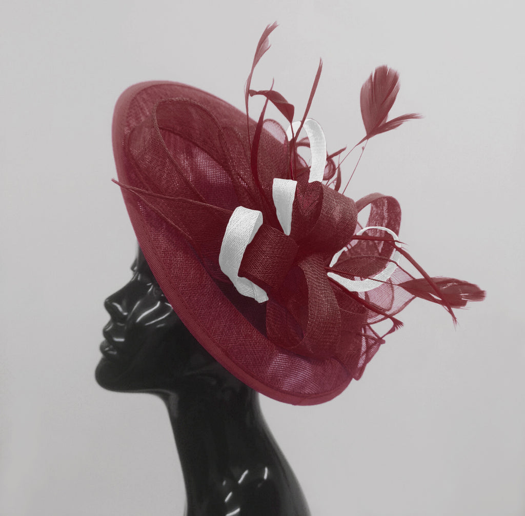 Caprilite Big Saucer Sinamay Burgundy & White Mixed Colour Fascinator On Headband