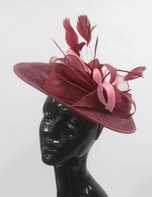 Caprilite Big Saucer Sinamay Burgundy & Baby Pink Mixed Colour Fascinator On Headband