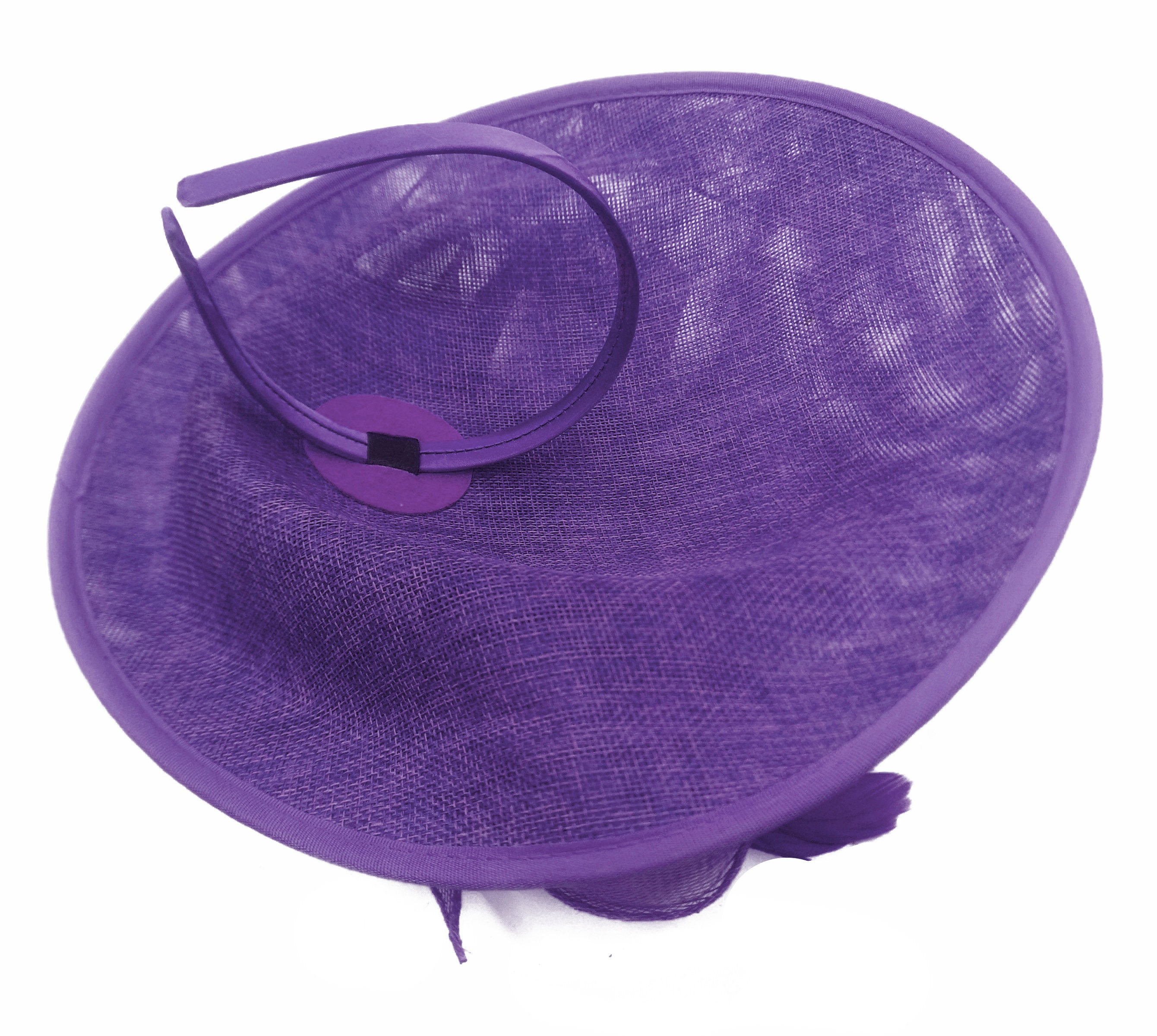 Caprilite Big Saucer Sinamay Lavender Purple & Baby Pink Mixed Colour Fascinator On Headband