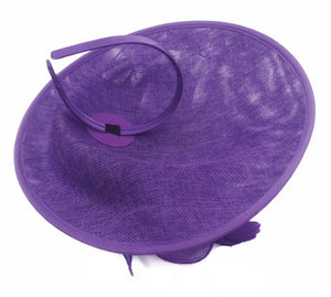 Caprilite Big Saucer Sinamay Lavender Purple & Yellow Mixed Colour Fascinator On Headband