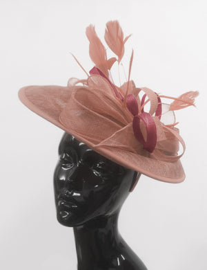 Caprilite Big Saucer Sinamay Dusty Pink & Burgundy Mixed Colour Fascinator On Headband