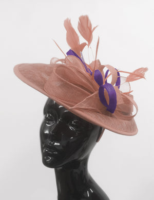 Caprilite Big Saucer Sinamay Dusty Pink & Dark Purple Mixed Colour Fascinator On Headband