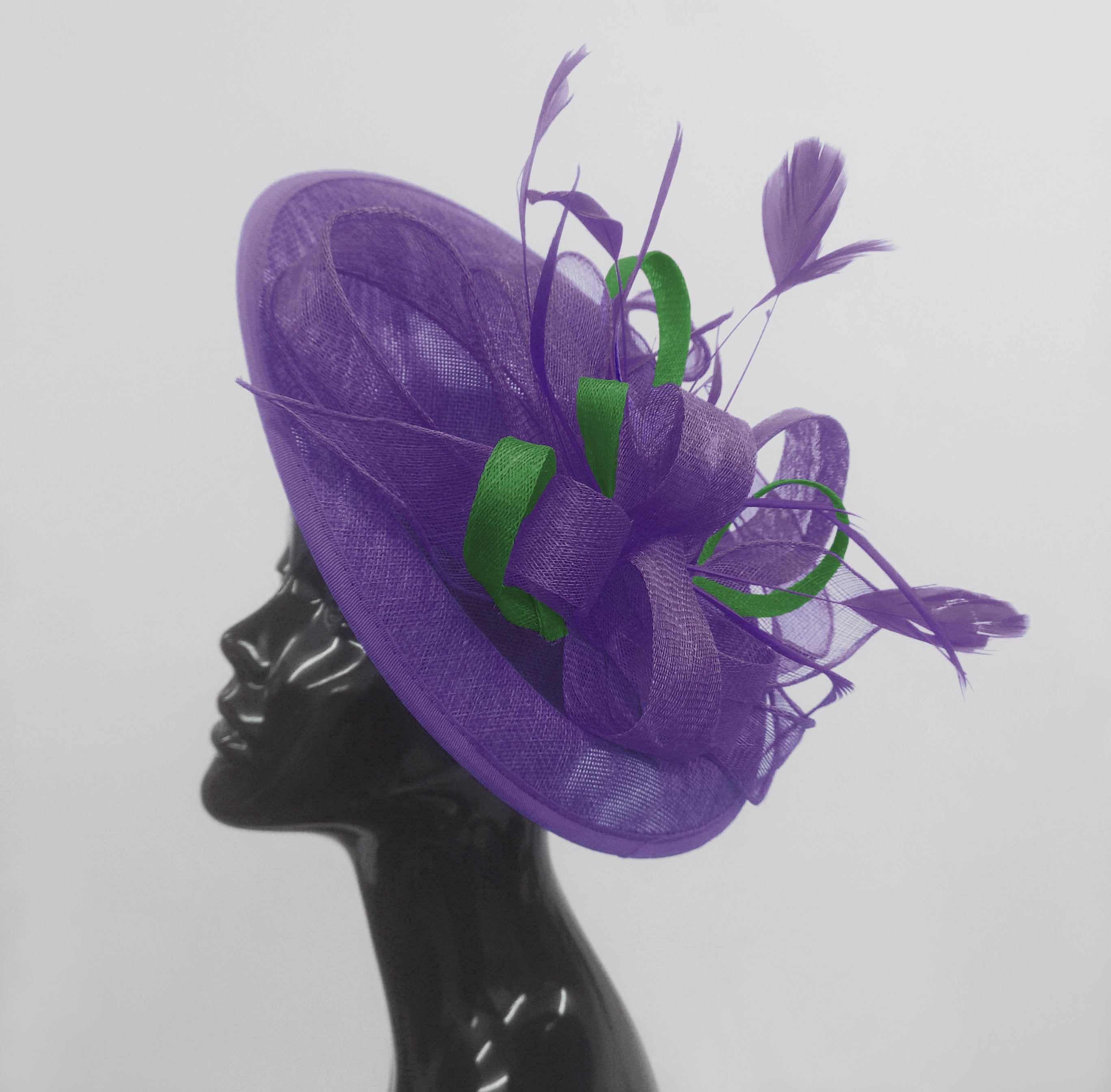 Caprilite Big Saucer Sinamay Lavender Purple & Green Mixed Colour Fascinator On Headband