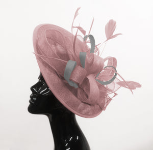 Caprilite Big Saucer Sinamay Dusty Pink & Silver Grey Mixed Colour Fascinator On Headband