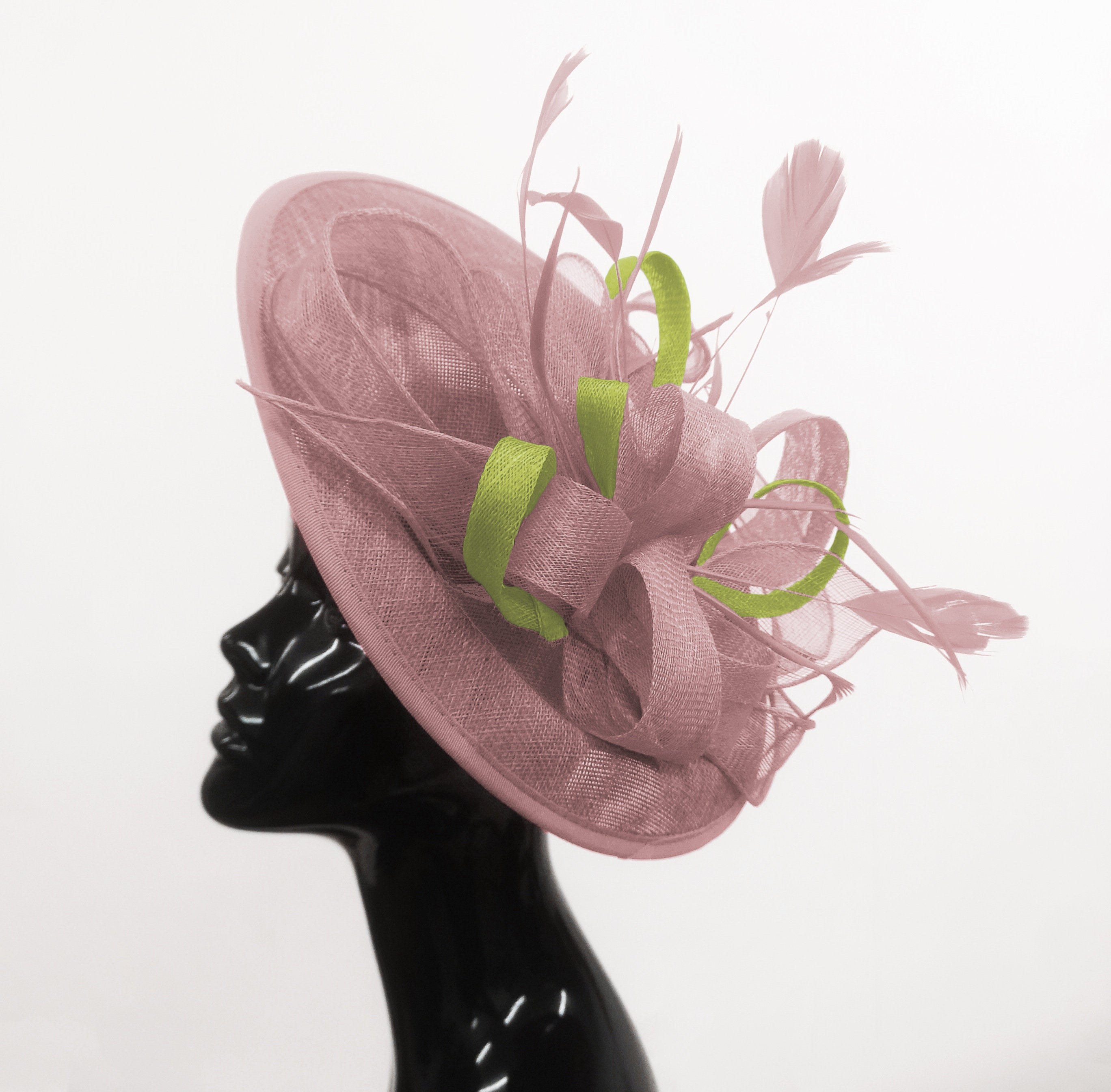Caprilite Big Saucer Sinamay Dusty Pink & Lime Green Mixed Colour Fascinator On Headband
