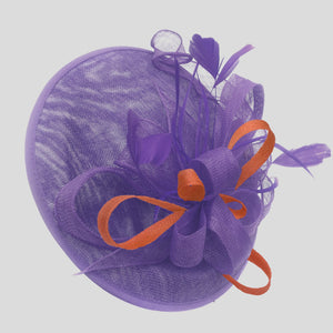 Caprilite Big Saucer Sinamay Lavender Purple & Orange Mixed Colour Fascinator On Headband