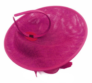 Caprilite Big Saucer Sinamay Fuchsia Hot Pink & Yellow Mixed Colour Fascinator On Headband