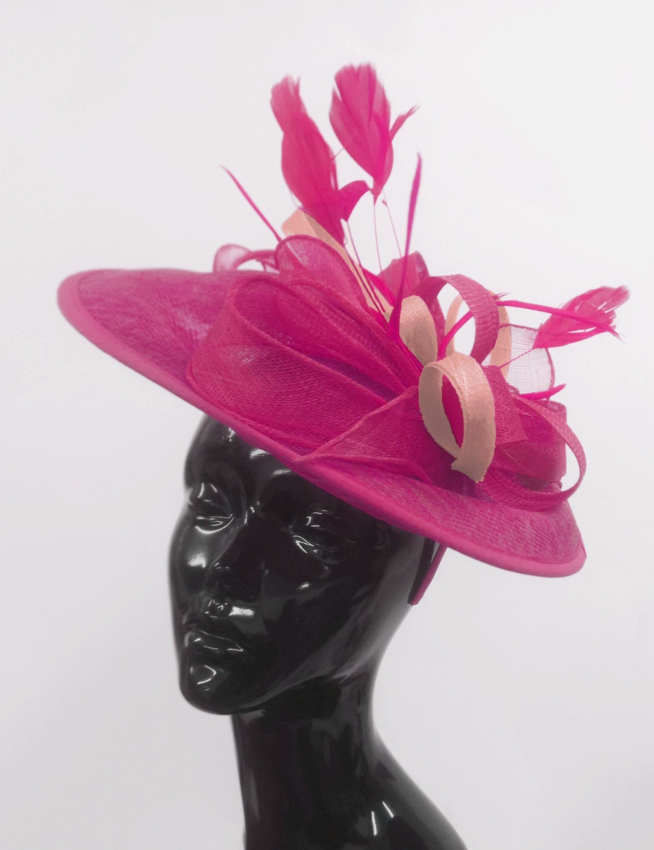 Caprilite Big Saucer Sinamay Fuchsia Hot Pink & Dusty Pink Mixed Colour Fascinator On Headband