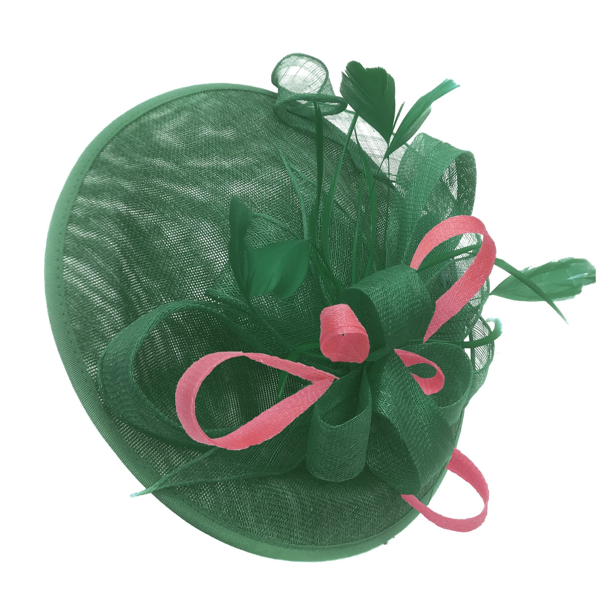 Caprilite Big Saucer Sinamay Green & Baby Pink Mixed Colour Fascinator On Headband