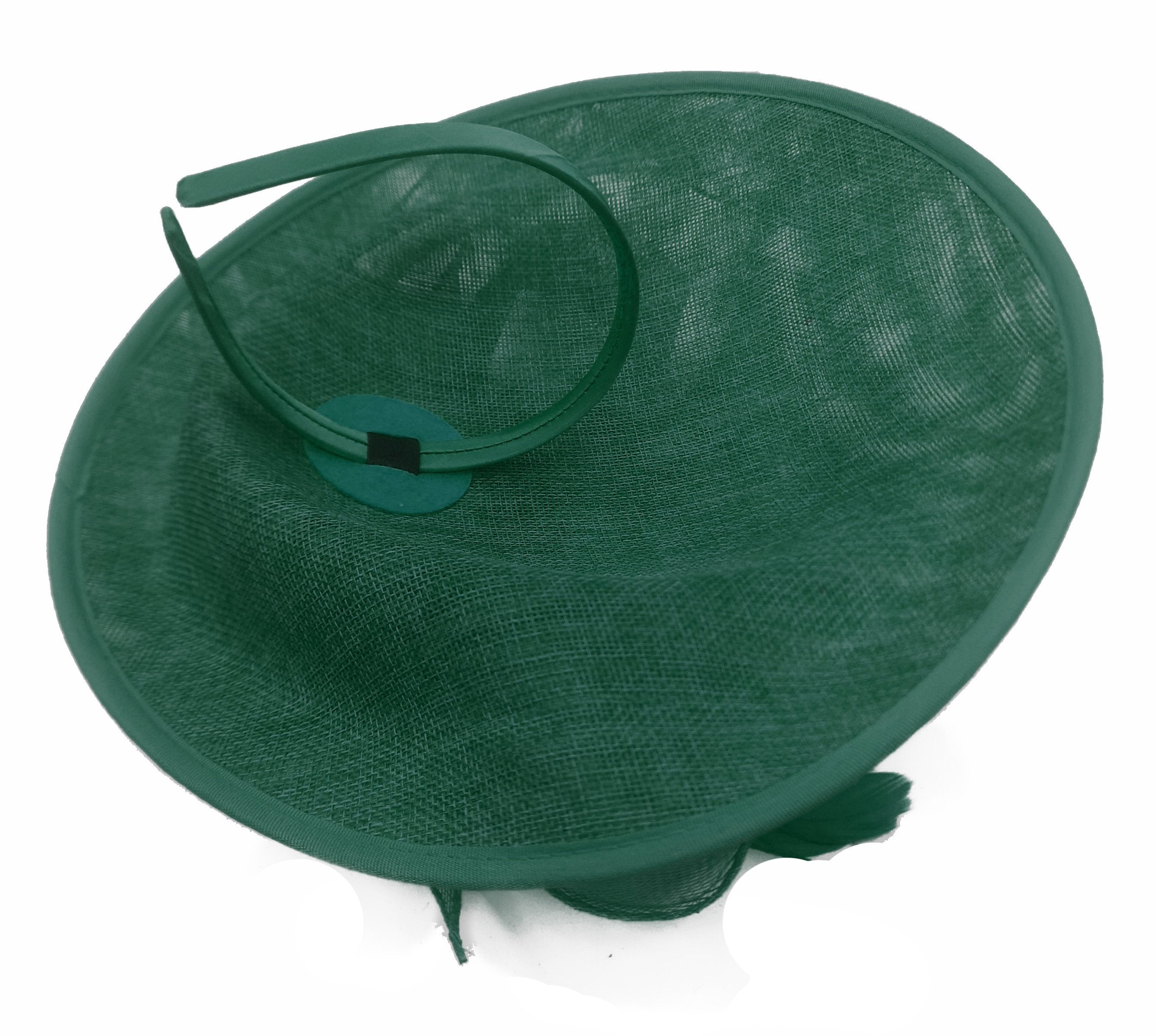 Caprilite Big Saucer Sinamay Green & Peach Mixed Colour Fascinator On Headband