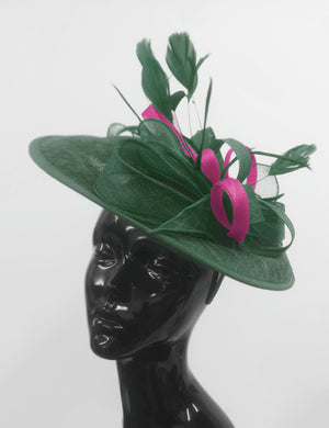 Caprilite Big Saucer Sinamay Green & Fuchsia Hot Pink Mixed Colour Fascinator On Headband