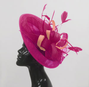 Caprilite Big Saucer Sinamay Fuchsia Hot Pink & Peach Mixed Colour Fascinator On Headband