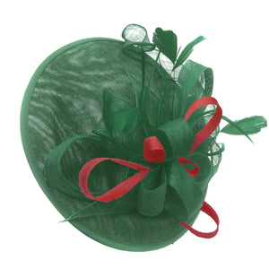 Caprilite Big Saucer Sinamay Green & Red Mixed Colour Fascinator On Headband