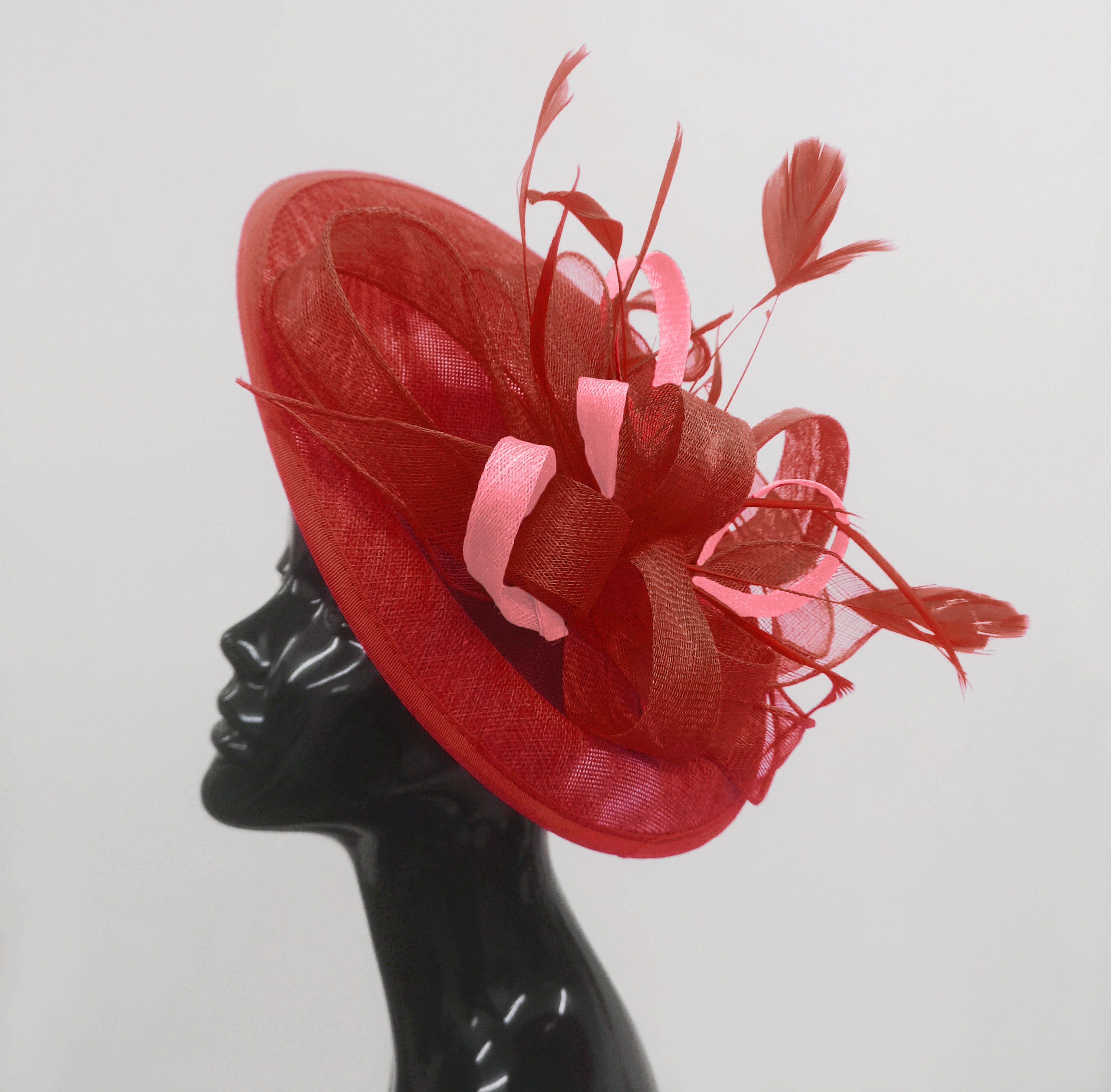 Caprilite Big Saucer Sinamay Red & Baby Pink Mixed Colour Fascinator On Headband