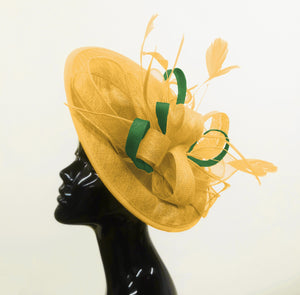 Caprilite Big Saucer Sinamay Gold Mustard & Green Mixed Colour Fascinator On Headband