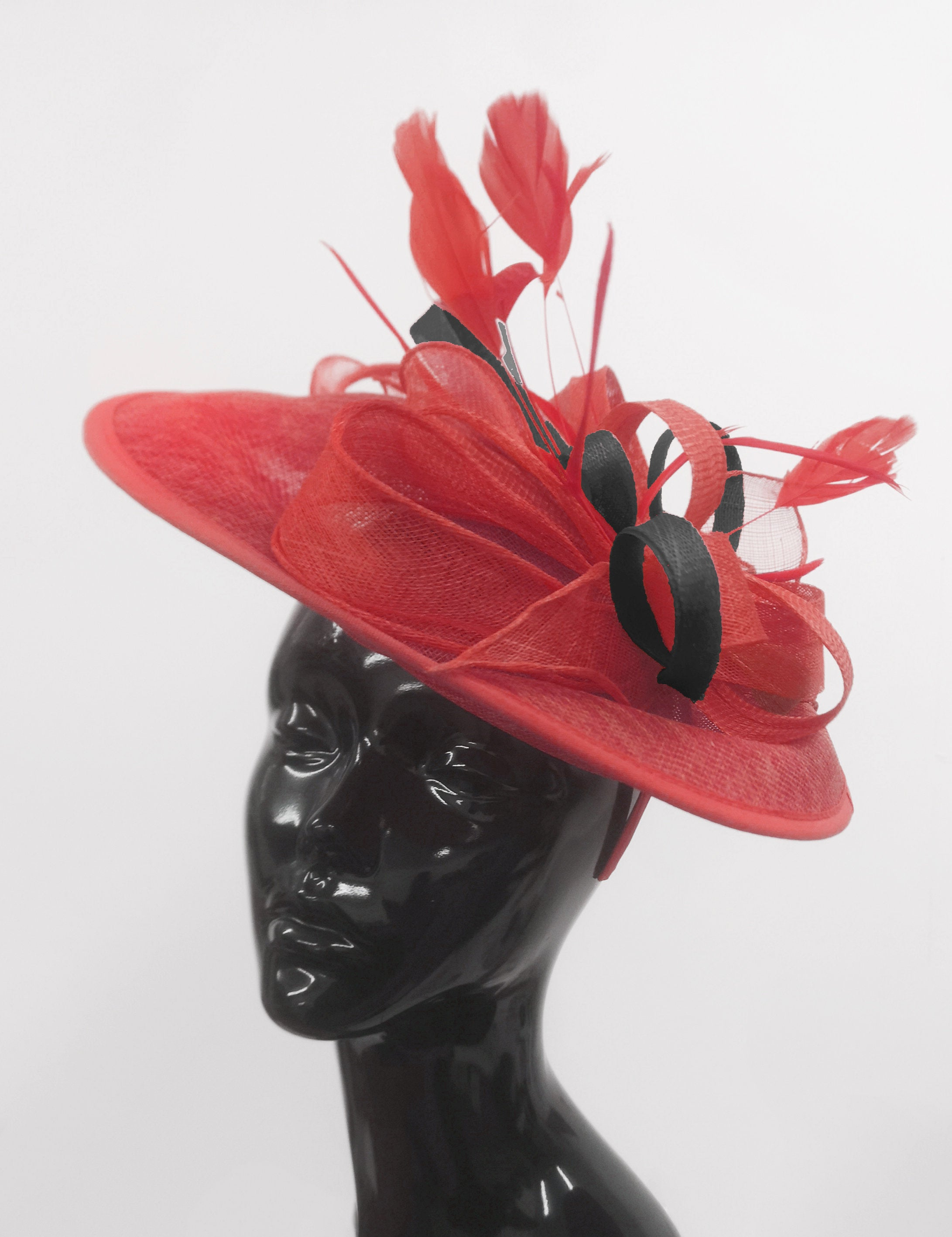 Caprilite Big Saucer Sinamay Red & Black Mixed Colour Fascinator On Headband