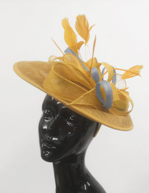 Caprilite Big Saucer Sinamay Gold Mustard & Grey Silver Mixed Colour Fascinator On Headband