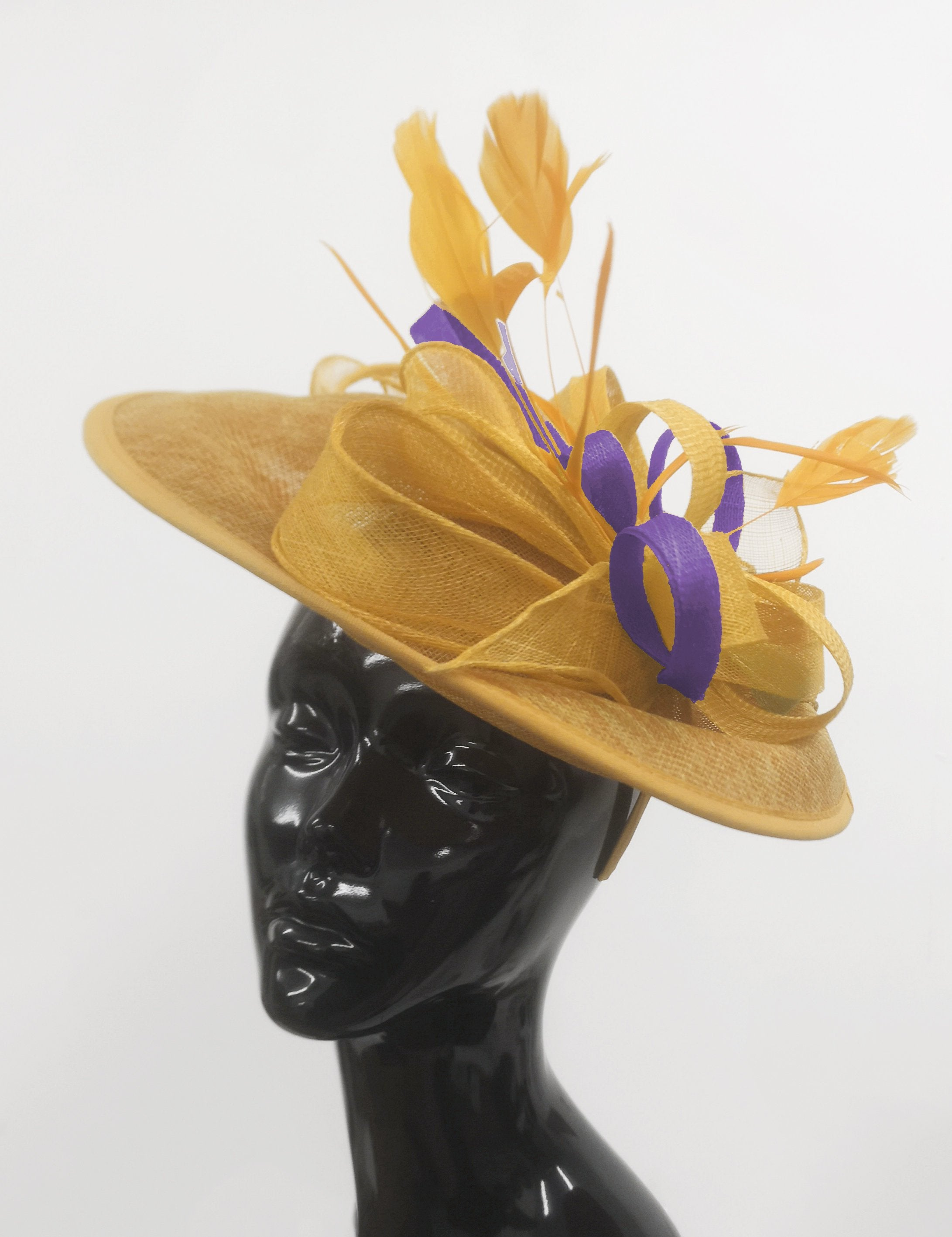 Caprilite Big Saucer Sinamay Gold Mustard & Lavender Purple Mixed Colour Fascinator On Headband