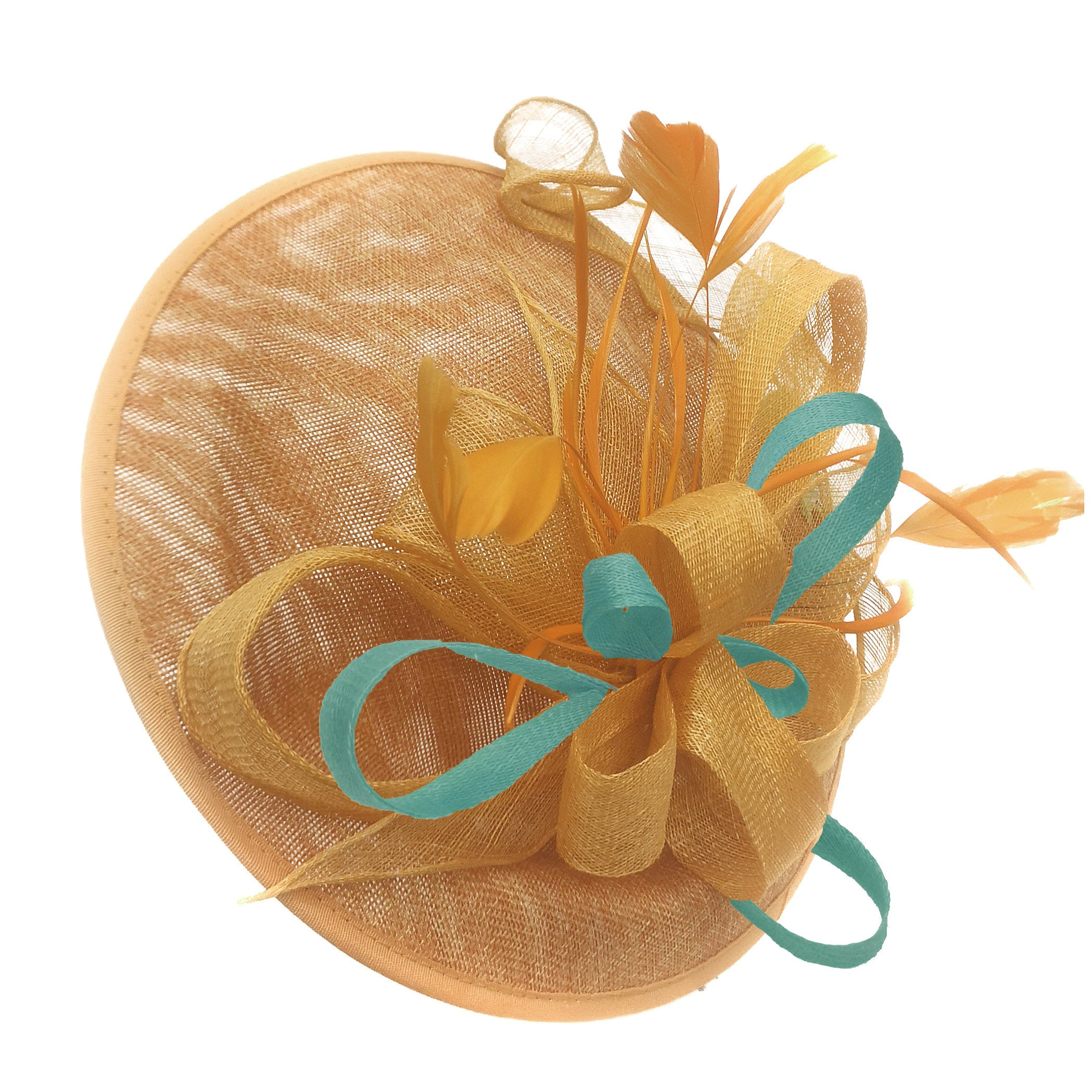 Caprilite Big Saucer Sinamay Gold Mustard & Light Turquoise Mixed Colour Fascinator On Headband