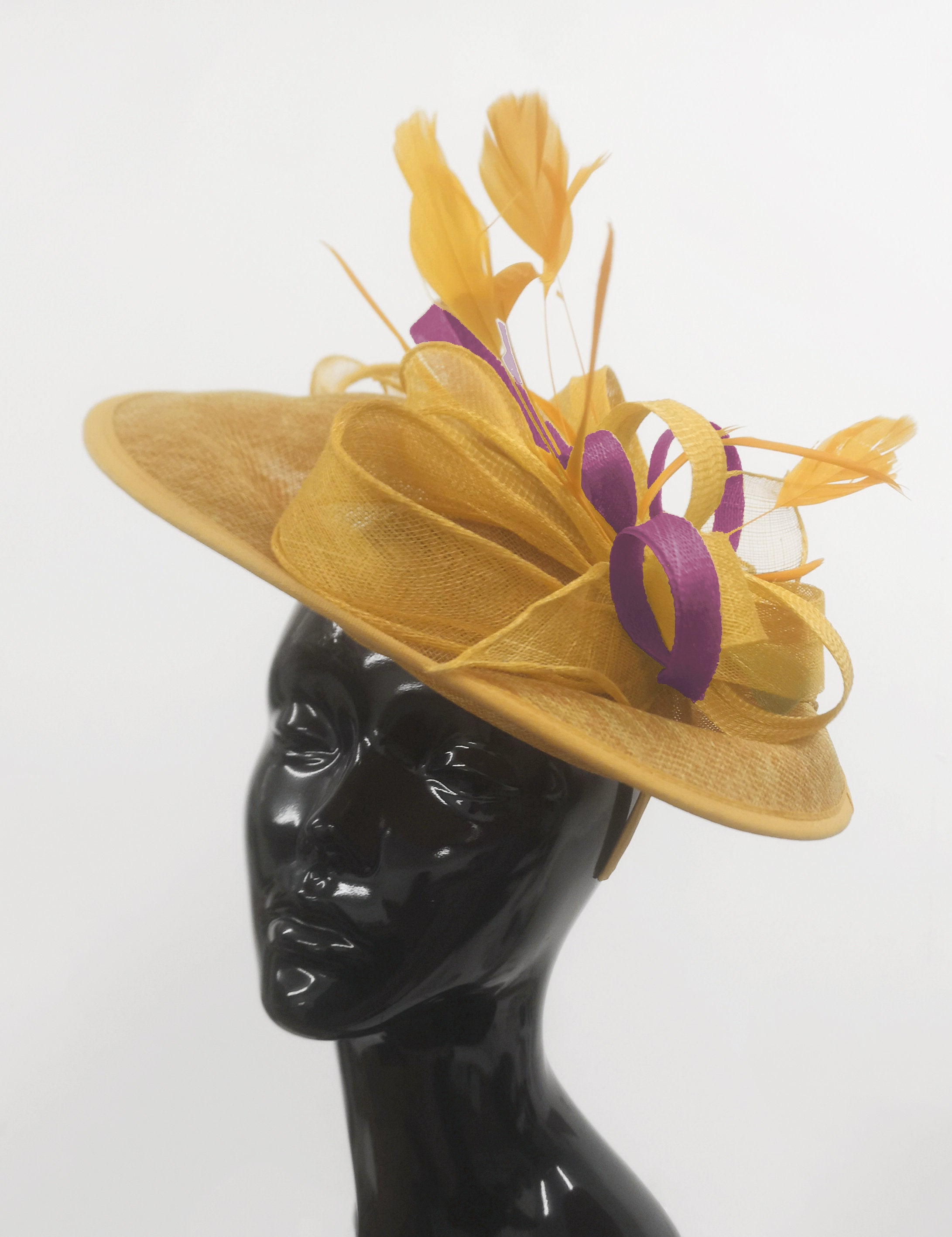 Caprilite Big Saucer Sinamay Gold Mustard & Plum Mixed Colour Fascinator On Headband
