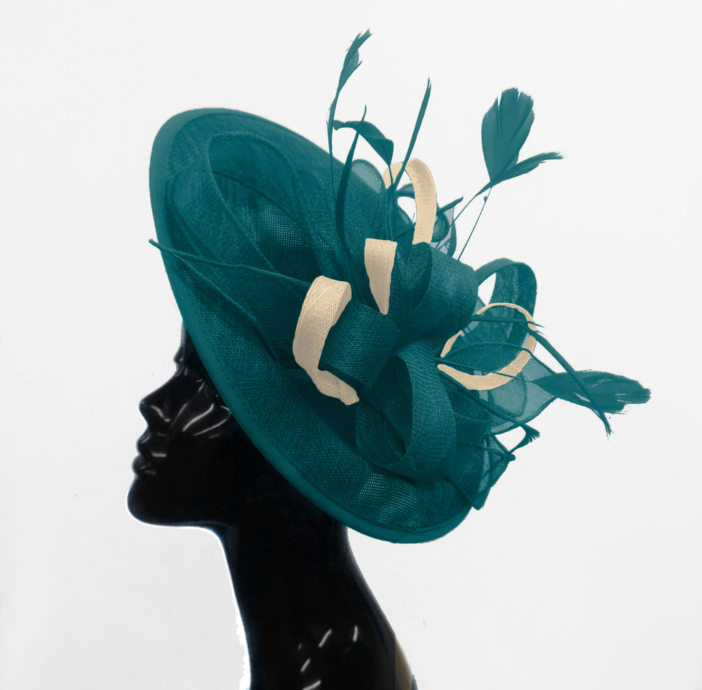 Caprilite Big Saucer Sinamay Teal Turquoise & Cream Ivory Mixed Colour Fascinator On Headband