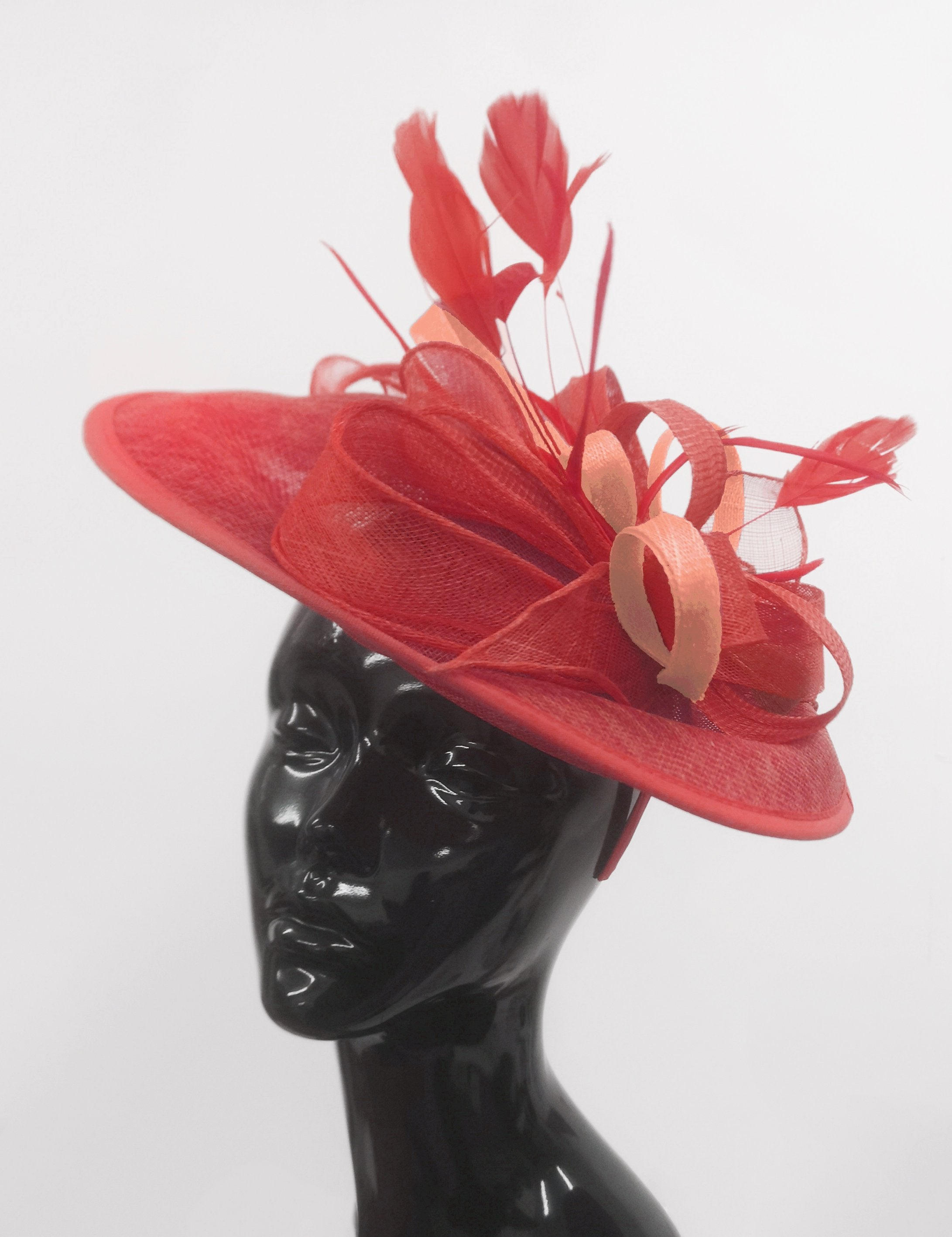 Caprilite Big Saucer Sinamay Red & Peach Mixed Colour Fascinator On Headband