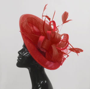 Caprilite Big Saucer Sinamay Red Mixed Colour Fascinator On Headband