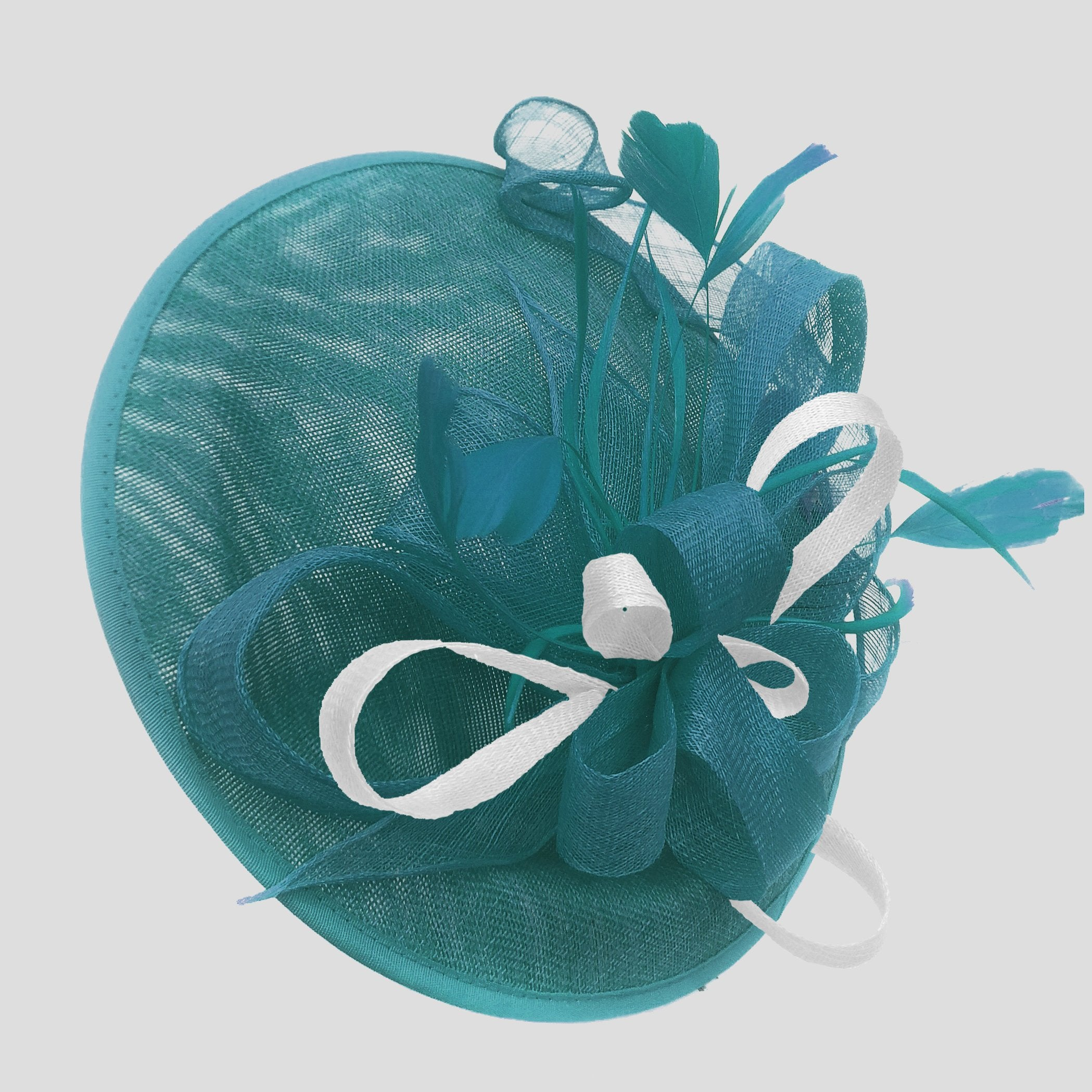 Caprilite Big Saucer Sinamay Teal Turquoise & White Mixed Colour Fascinator On Headband