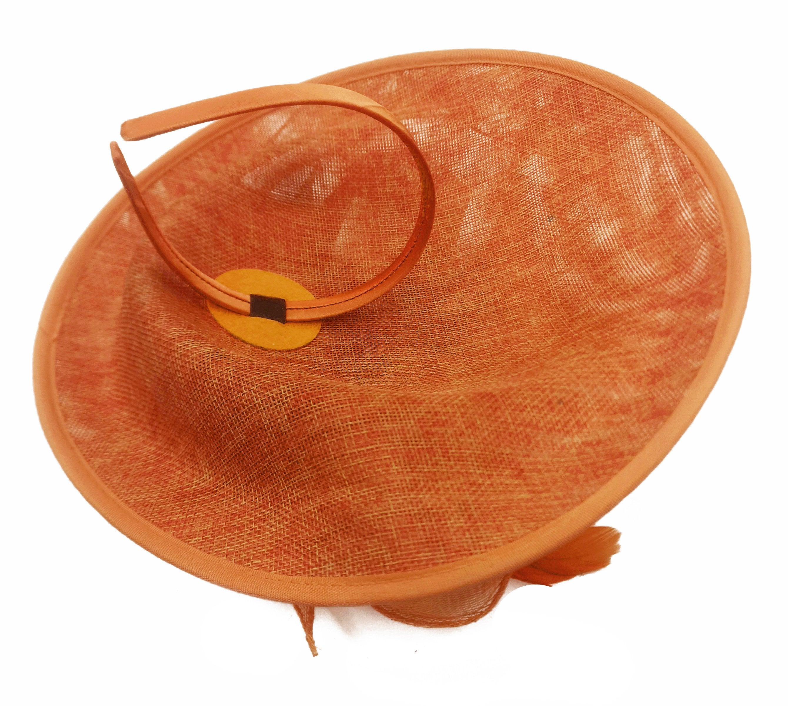 Caprilite Big Saucer Sinamay Orange Colour Fascinator On Headband