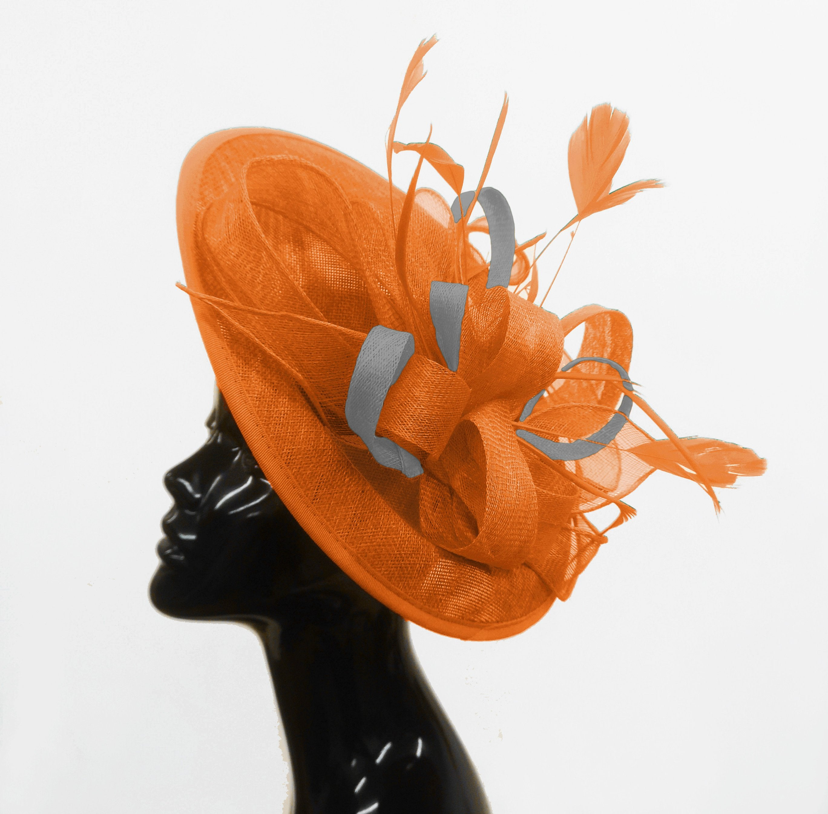 Caprilite Big Saucer Sinamay Orange & Silver Grey Mixed Colour Fascinator On Headband