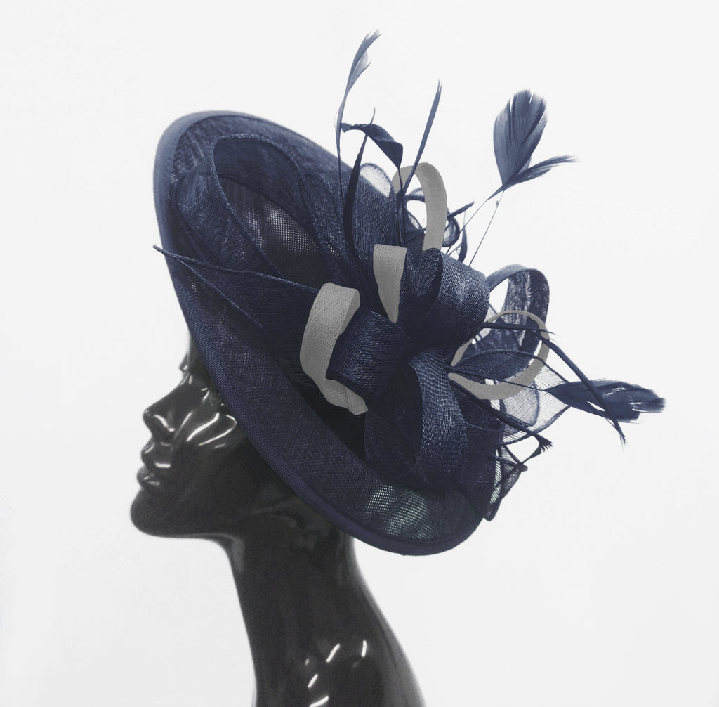 Caprilite Big Saucer Sinamay Navy Blue & Silver Grey Mixed Colour Fascinator On Headband