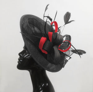 Caprilite Big Saucer Sinamay Black & Red Mixed Colour Fascinator On Headband