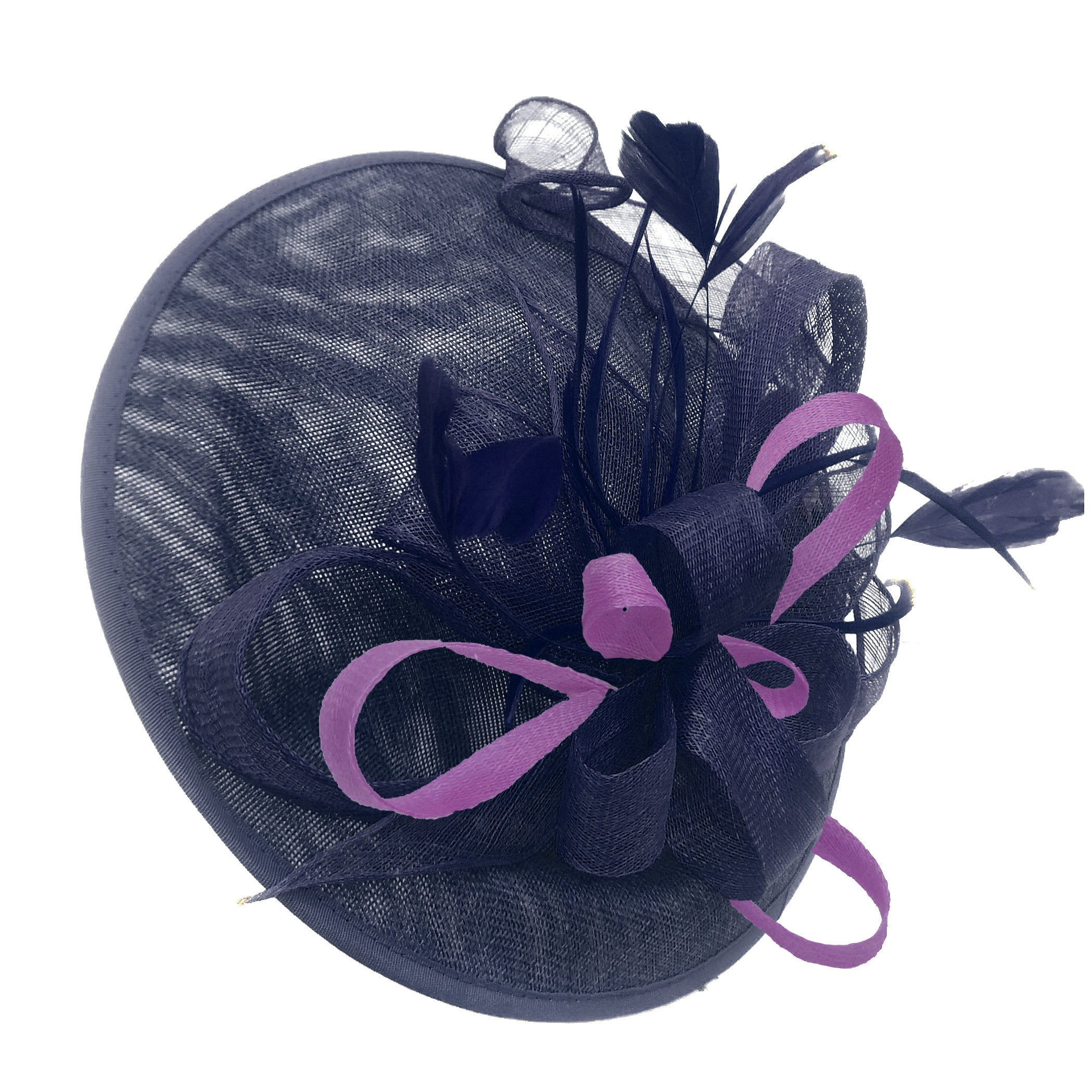 Caprilite Big Saucer Sinamay Navy Blue & Cadbury Purple Mixed Colour Fascinator On Headband