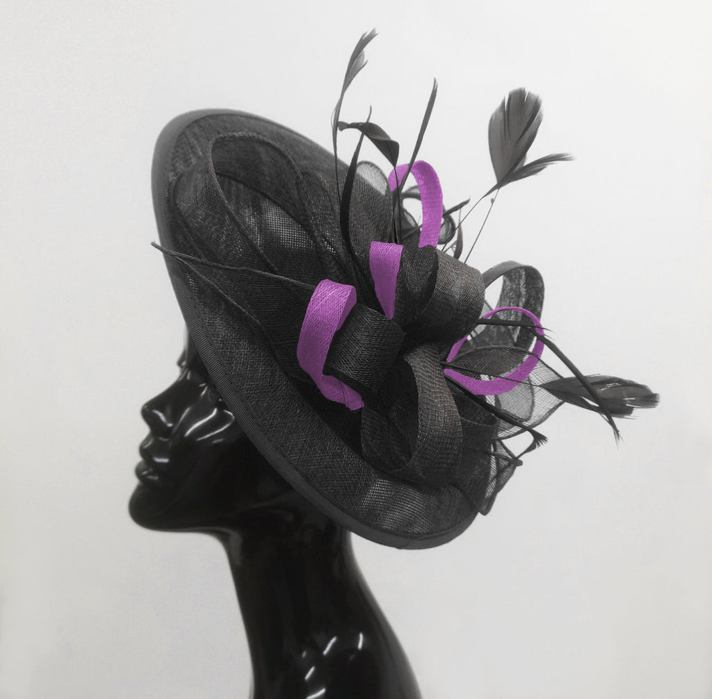 Caprilite Big Saucer Sinamay Black & Cadbury Purple Mixed Colour Fascinator On Headband