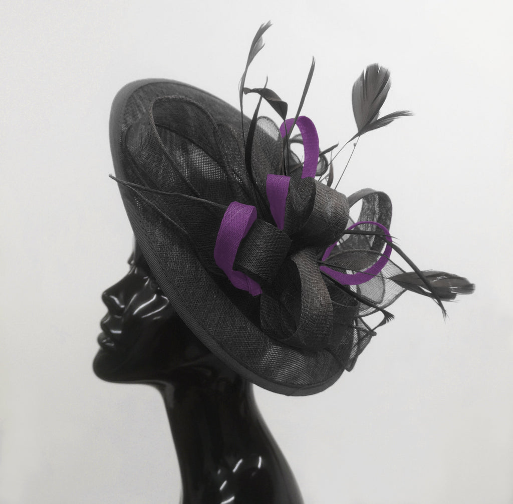 Caprilite Big Saucer Sinamay Black & Dark Purple Mixed Colour Fascinator On Headband