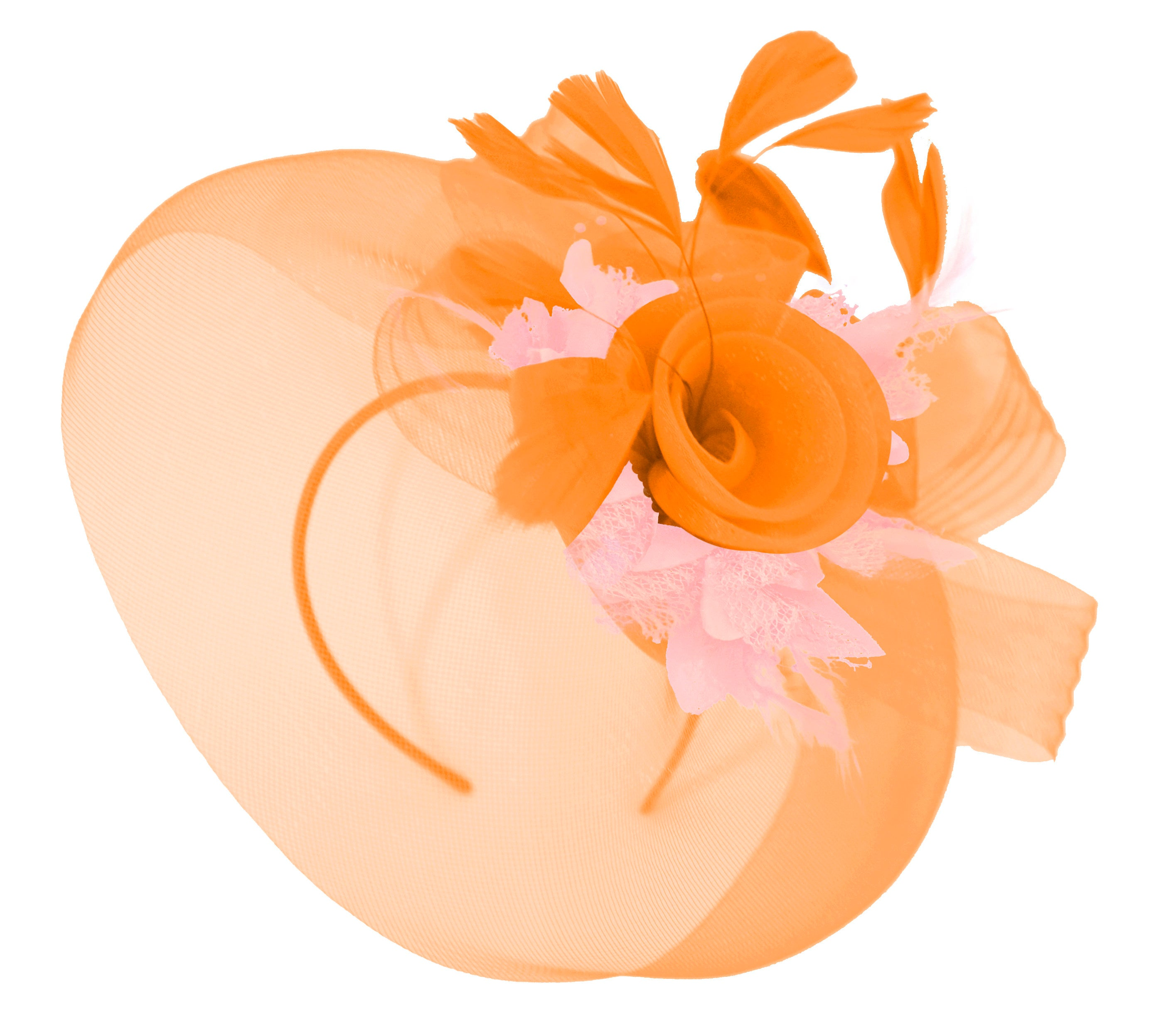 Caprilite Orange and Baby Pink Fascinator Hat Veil Net Hair Clip Ascot Derby Races Wedding Headband Feather Flower