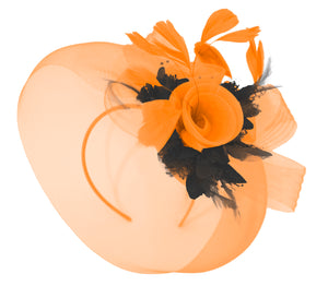 Caprilite Orange and Black Fascinator Hat Veil Net Hair Clip Ascot Derby Races Wedding Headband Feather Flower