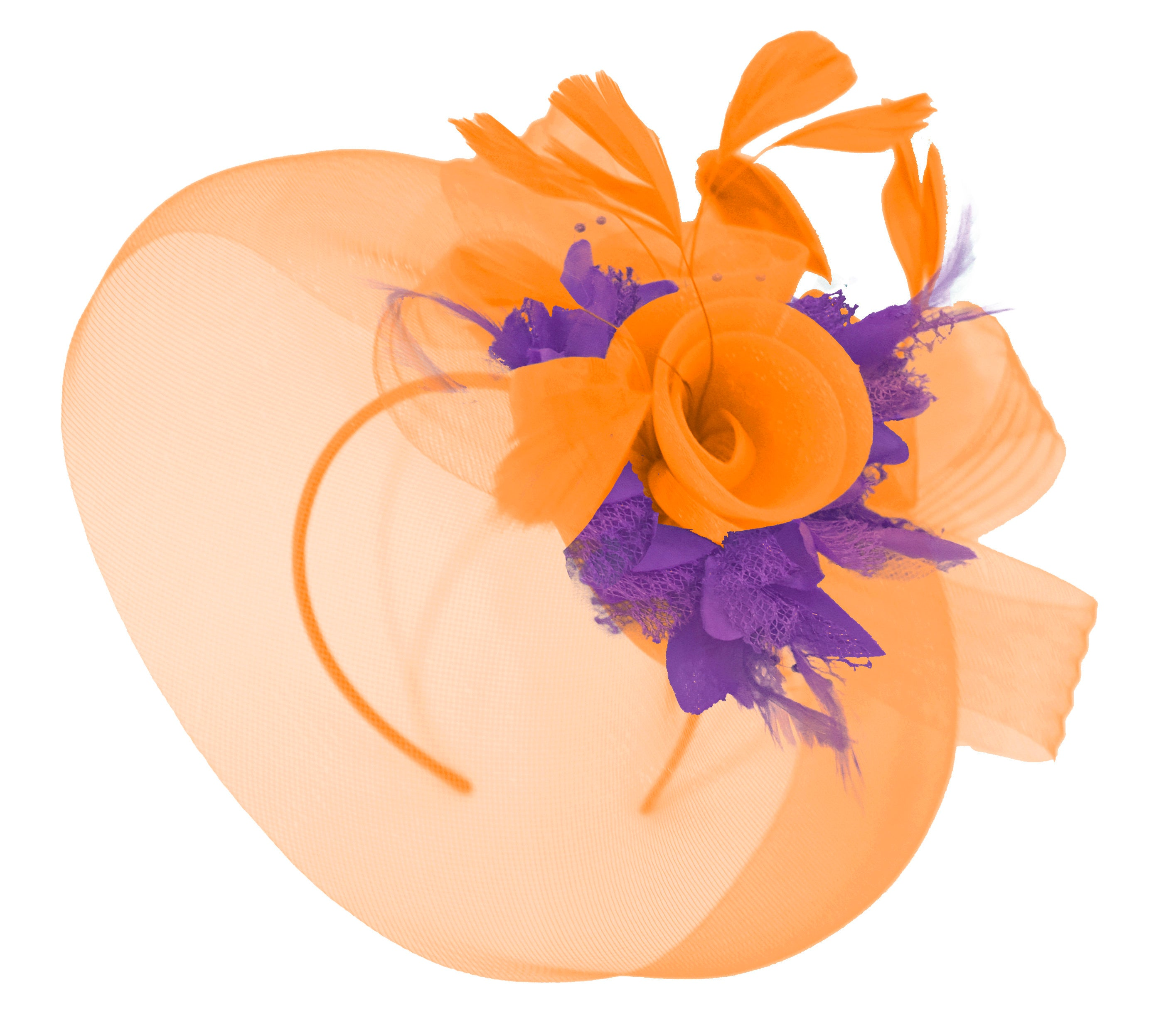 Caprilite Orange and Cadbury Purple Fascinator Hat Veil Net Hair Clip Ascot Derby Races Wedding Headband Feather Flower