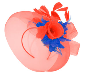 Caprilite Red and Royal Blue Fascinator on Headband Veil UK Wedding Ascot Races Hatinator