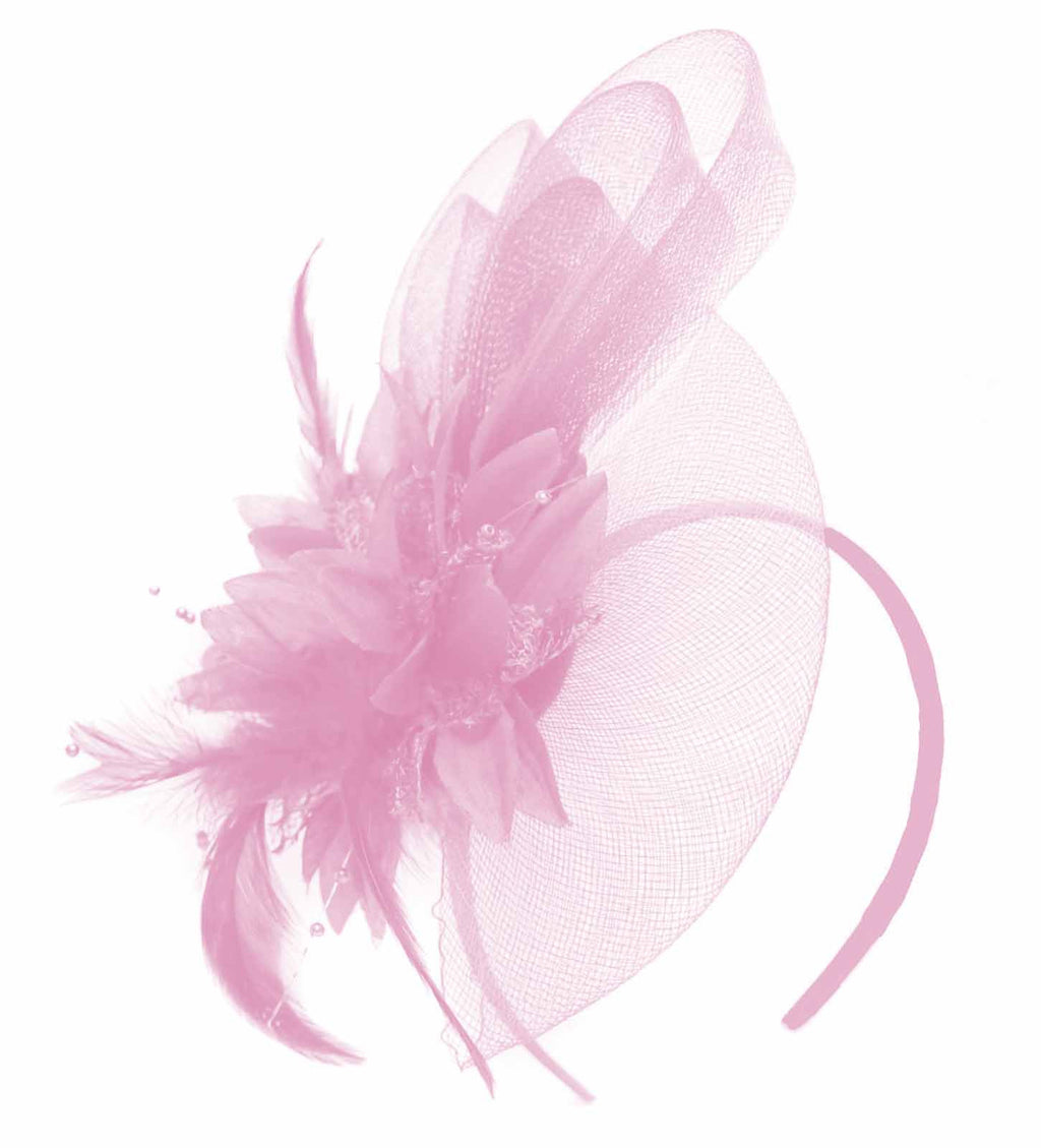 Caprilite Baby Pink Flower Veil Feathers Fascinator On Headband Wedding