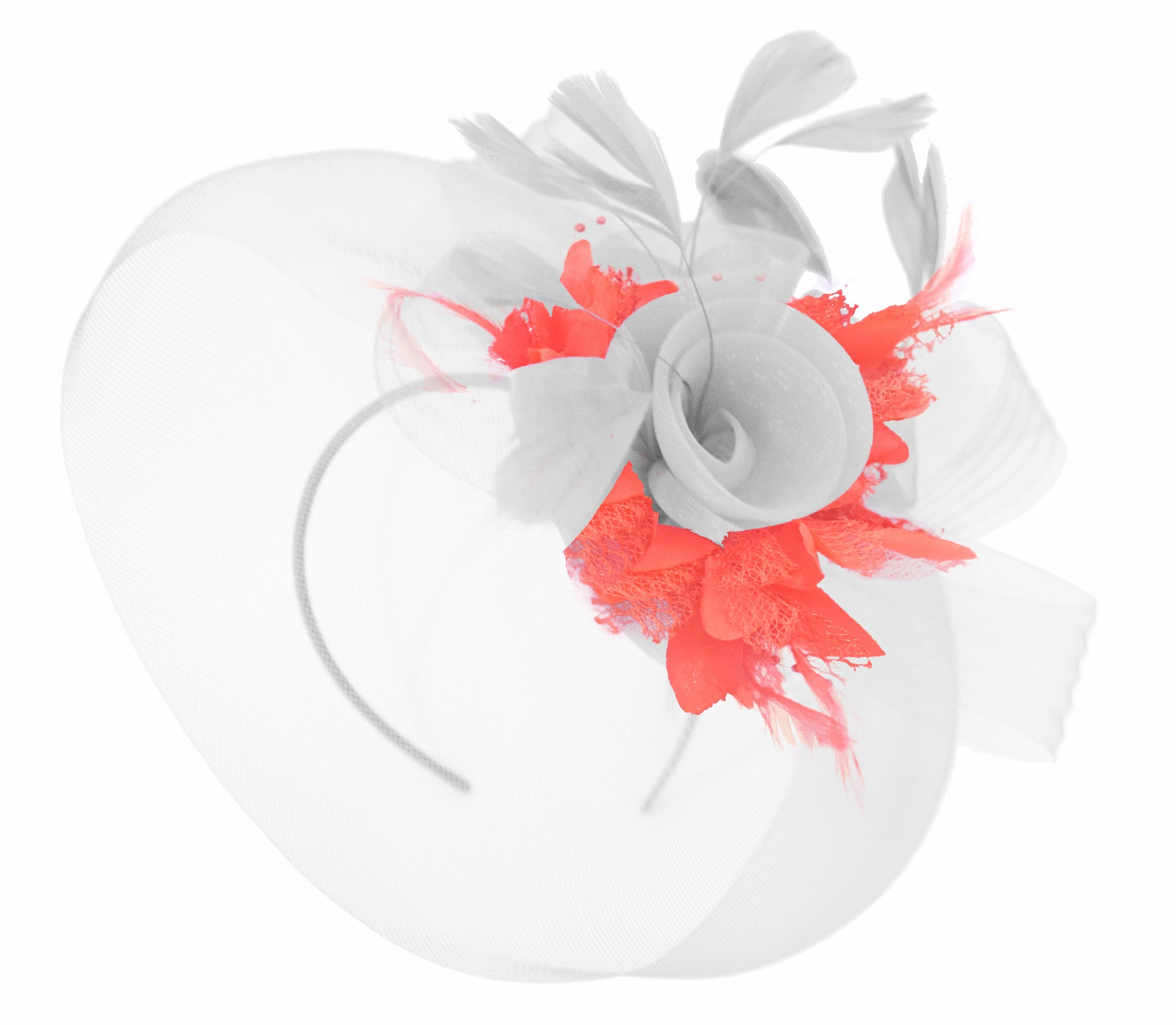 Caprilite White and Coral Fascinator on Headband Veil UK Wedding Ascot Races Hatinator