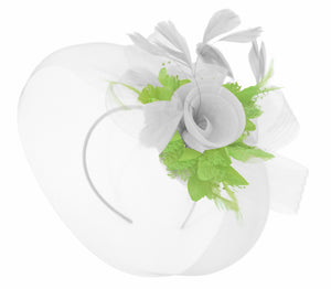 Caprilite White and lime Green Fascinator on Headband Veil UK Wedding Ascot Races Hatinator