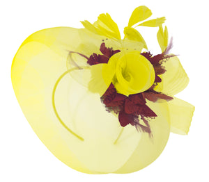 Caprilite Yellow and Burgundy Fascinator on Headband Veil UK Wedding Ascot Races Hatinator